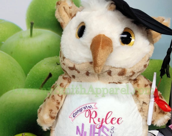 "Spotted Owl Custom 16"" personalized LAST ONE embroidery plush. Plush stuffed animal. Birth announcement, sub art, birth block, baby shower"