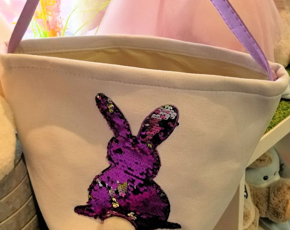 Sequin Easter Basket with bunny rabbit. Reversible silver sequin canvas tote for candy. Personalized with FREE SHIPPING with child's name.