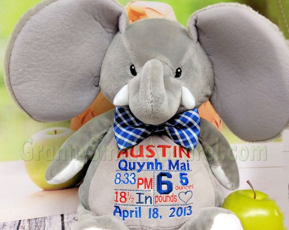 "Elephant 16"" customized & personalized plush plushie stuffed stuffie animal embroidered gift. shower, christening, special event, holiday"
