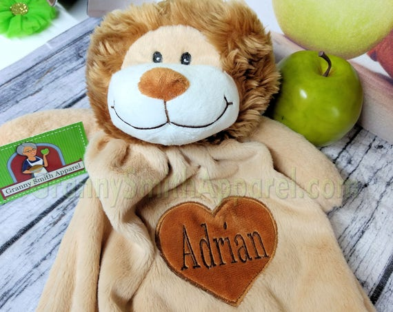 "Lion personalized lovie 20"" blanket bear. Monogram or Name. baby shower, christening, adoption, personalized gift, child's name, girl"