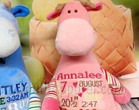 "Pink Pastel 12"" Giraffe customized plush animal. Easter Basket, christening, newborn, adoption, personalized gift, customized, child's name"