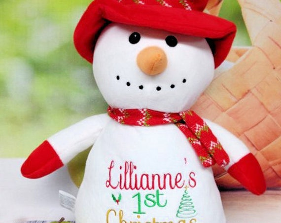 "SNOWMAN with RED hat & scarf 12"" birth announcement plush animal. Christmas, christening, newborn, adoption, personalized gift."