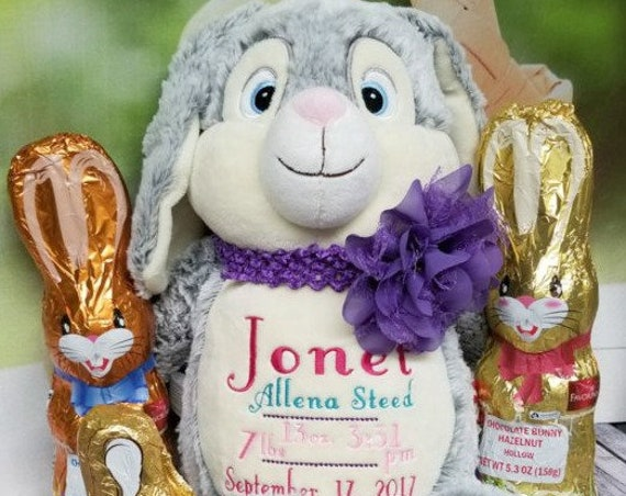 "Bunny Rabbit **NEW DESIGN**  Custom birth announcement 12"" personalized Easter basket plush. Baby, christening, special event, holiday,"