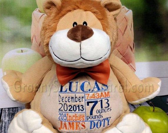 "Lion 16"" stuffie plushie plush animal. Birth announcement. Baby, baby shower, newborn, adoption, personalized gift, customized, child's name"