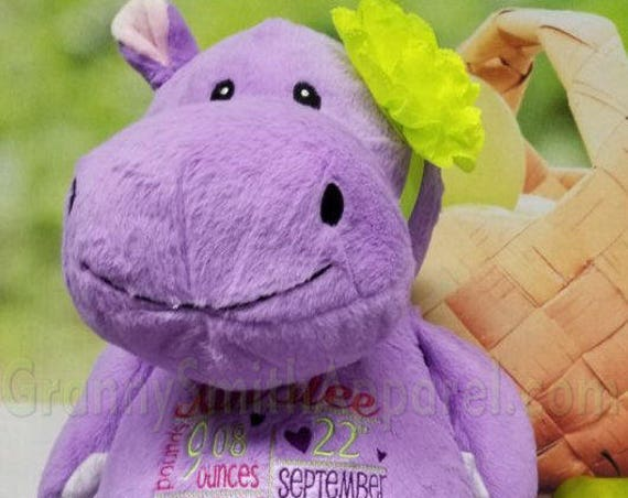 """Customize & personalize a purple 16"""" embroidered hippo. Christmas. Baby, birthday, shower, christening, special event, holiday"""