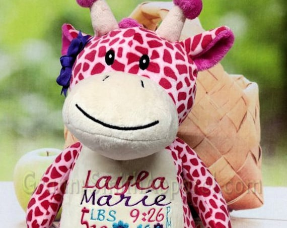 "PINK Giraffe 12"" custom plush stuffie stuffed animal birth announcement. Graduation, christening, child's name, Christmas, Easter, Holiday"