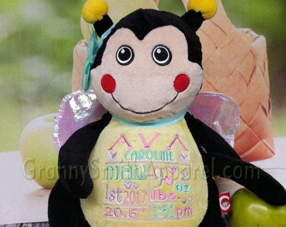 "Bumble Bee Custom plush 12"" personalized birth announcement Easter basket plush. Baby, newborn, shower, christening, special event, holiday,"