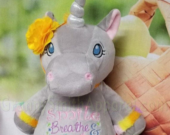 "UNICORN pastel GRAY with Custom embroidered 12"" plush stuffie. Birth announcement, birthday gift, Memorial animal plush stuffie."