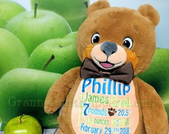 Classic Teddy Bear Stuffed animal plush custom embroidered and personalized plushie stuffie. Christmas. Baby, ring bearer, ring security