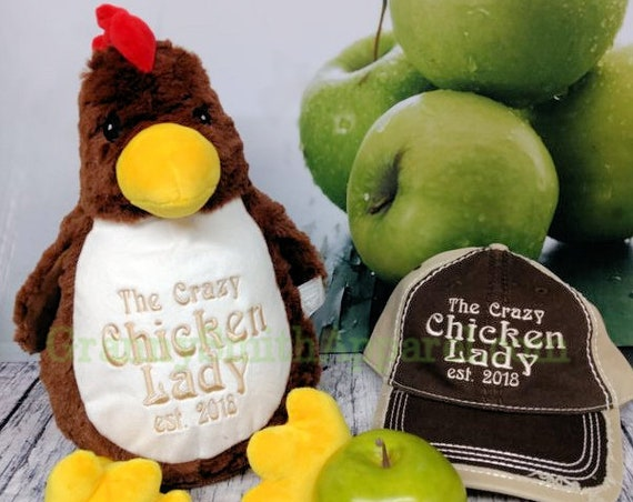 Crazy Chicken Lady custom stuffed animal Chicken Chick. Farm Girl Gift. Chicken Mom. Hen house. Chicken Coop Cleaning. Rooster.