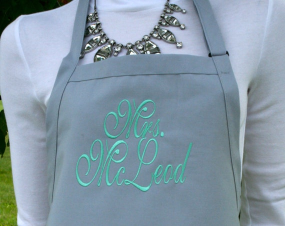 """3 pocket silver gray spoons apron and mint font monogrammed apron (24""""L x 28""""W) Engagement, House Warming, Bridal Shower Birthday, Etc"""