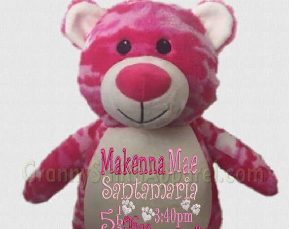 "Pink CAMO BEAR 14"" stuffed animal plush stuffie plushie! Personalized w custom embroidered tummy. Birth, birthday, wedding gift, anniversary"