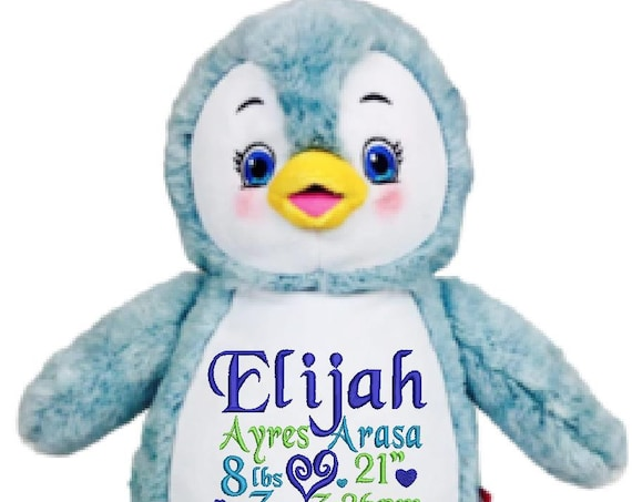 "Blue Penguin plush plushie stuffed stuffie animal 13"" embroidered personalized tummy. Custom design, saying, birth announcement, message etc"
