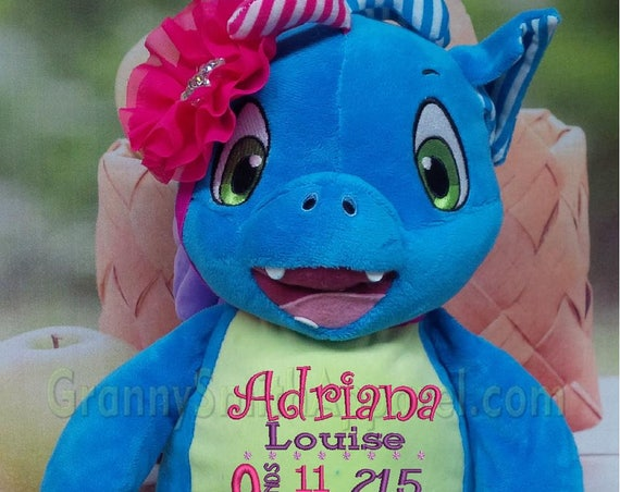 Monster custom stuffed animal stuffie plush plushie embroidered & personalized tummy. Great for any occasion, baby, birth announcement, etc