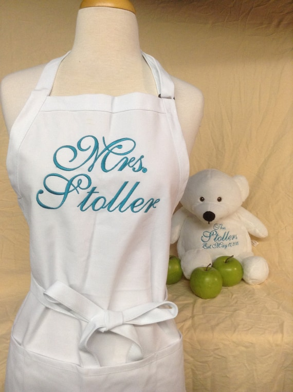 """White """"Mrs."""" Apron & Bedroom Bear with Dark Teal Ocean Script and Three Pockets (24""""L x 28""""W) Bridal Shower Gift, Cake Cutting Dress Saver"""