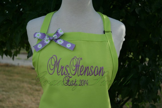 "The ""Mrs"" Apron with ""Estd. date"" & NO Pockets your color choice bow or not (28""L x 24""W) lavander, beach, island, , pastel, picnic, family"