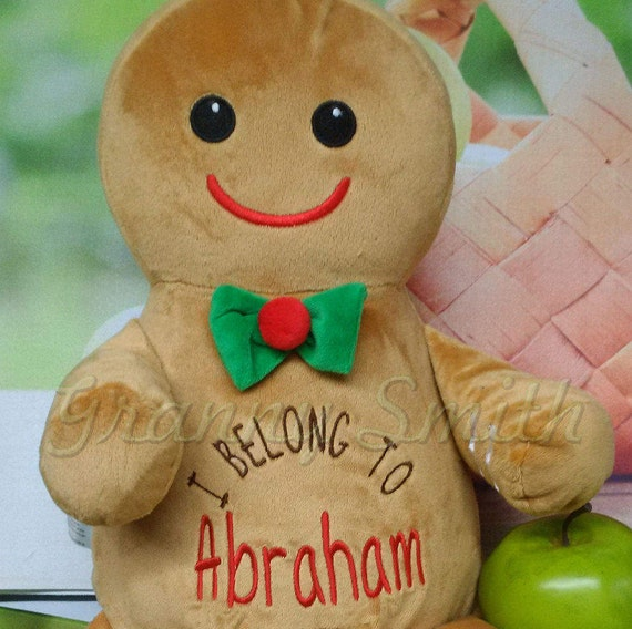 """Gingerbread  12"""" plush stuffed plush with custom embroidery! Any occasion, embroidered, monogrammed, personalized gift, customized animal"""