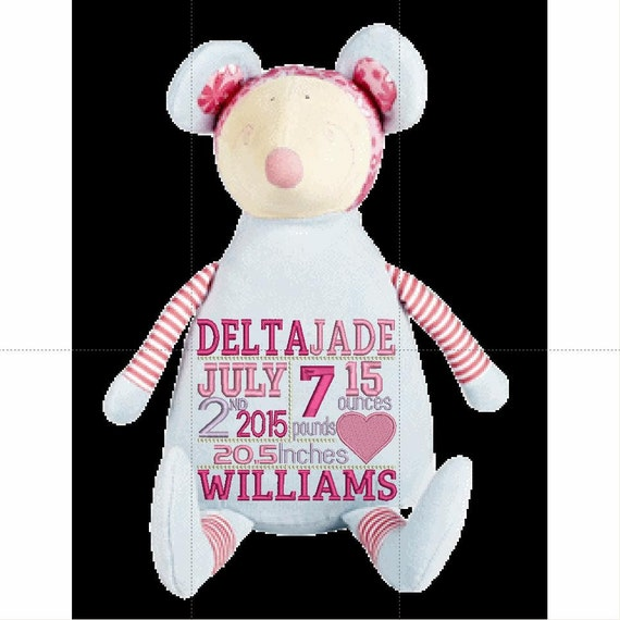 """Little Mouse Custom birth announcement 12"""" personalized Easter basket plush. Baby, newborn, shower, christening, special event, holiday,"""