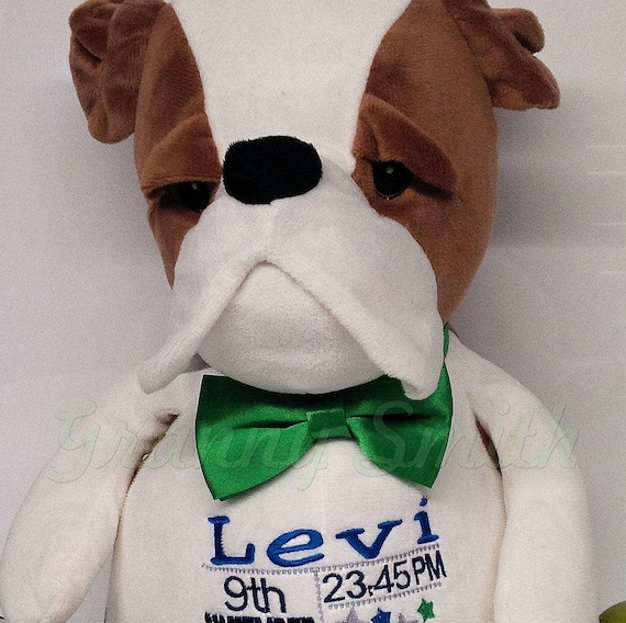 "Bull Dog personalized plush 12"" embroidered puppy. Graduation. Baby, wedding, birthday, shower, christening, special event, holiday"