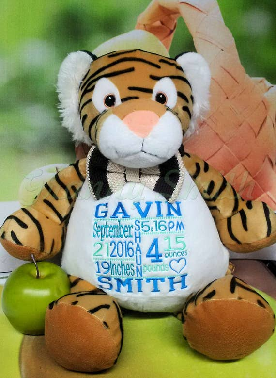 "The ultimate 16"" customized & personalized plush embroidered Tiger.. Baby, wedding, birthday, shower, christening, special event, holiday"