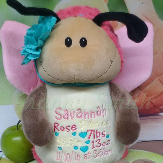 "Butterfly Custom birth 12"" personalized Easter basket plush. Baby, newborn, shower, christening, special event, holiday,"