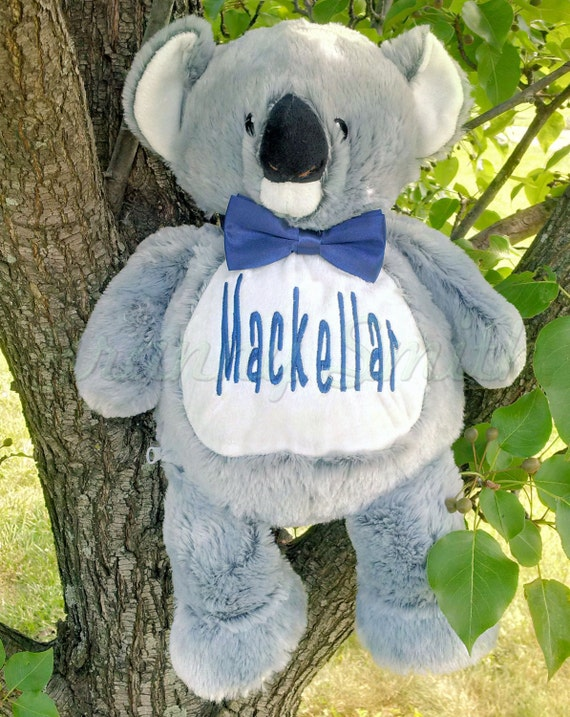 """KOALA 16"""" personalized plush embroidered two tone Elephant gift. Baby, newborn, shower, christening, special event, holiday. Subway art"""
