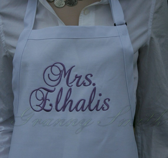 """NO pockets EXTRA long White Sugar Cubes apron with Amethyst thread (28""""L x 24""""W) """"sBe"""" font monogram. Personalize with or without a bow!"""