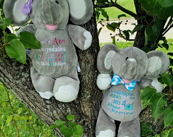 """Elephant customized & personalized plush plushie stuffed stuffie animal 12"""" embroidered gift. shower, christening, special event, holiday"""