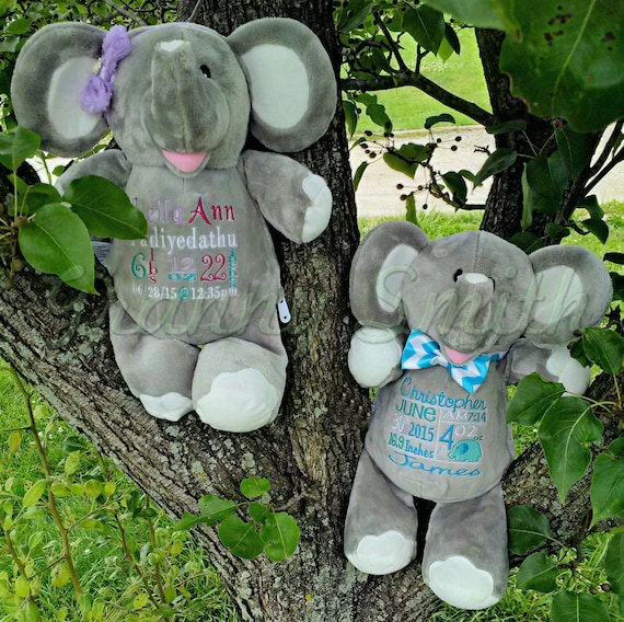 "Elephant customized & personalized plush plushie stuffed stuffie animal 12"" embroidered gift. shower, christening, special event, holiday"