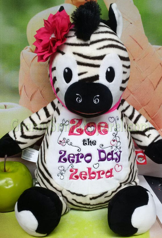 """Zebra Plush 12"""" stuffie stuffed animal personalized with custom embroidery!  **NEW DESIGN** Any occasion, monogrammed, personalized gift,"""