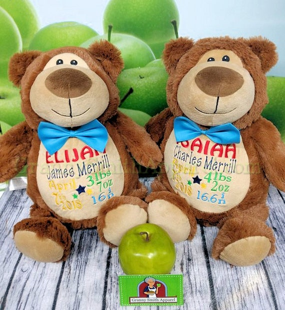 """TWO TONE Brown bear Customize & personalize plush plushie stuffed animal stuffie 12"""" embroidered, Christmas. Baby, wedding, birthday, shower"""
