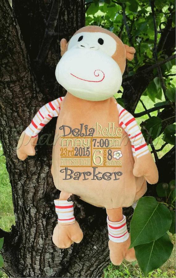 "Pastel monkey 12"" plush Customize & personalize. Graduation. Baby, wedding, birthday, shower, christening, special event, holiday"