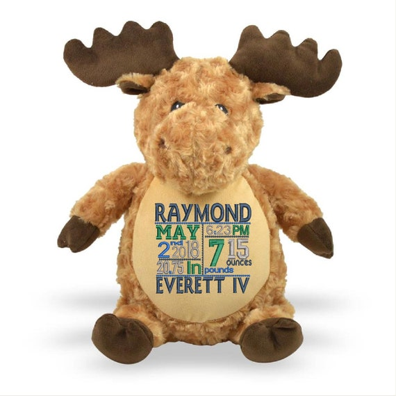 """FUN!!! Caramel 16"""" plush stuffed Moose with custom embroidery! Any occasion, embroidered, monogrammed, personalized gift, customized animal"""