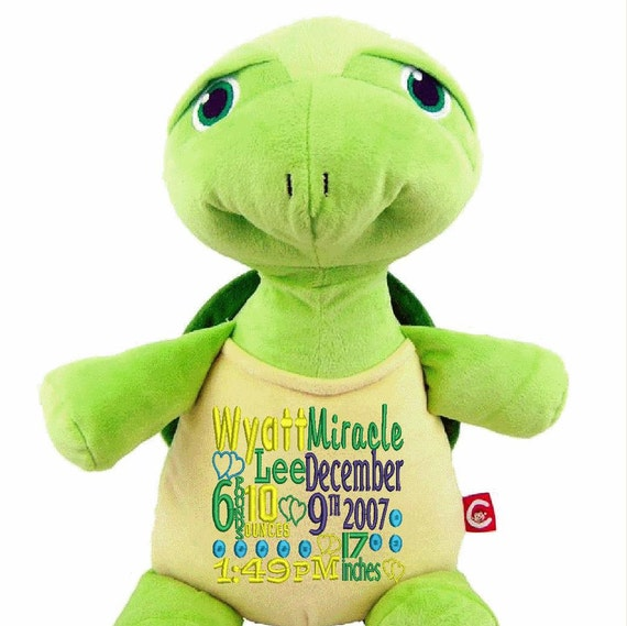 "Green Turtle **LAST ONES** Custom 12"" personalized plush embroidered gift. Baby, newborn, shower, christening, unique gift. Subway art"