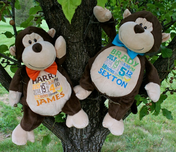 """Customize & personalize TWO  plush 16"""" embroidered monkey. Graduation. Baby, wedding, birthday, shower, christening, special event, holiday"""