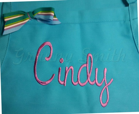 "3 pocket Turquoise Taffy & Purple Pansy thread ""SBE"" font ""first name"" apron (24""L x 28""W) Teacher, graduation, Chef, Picnic, BBQ, Wedding"