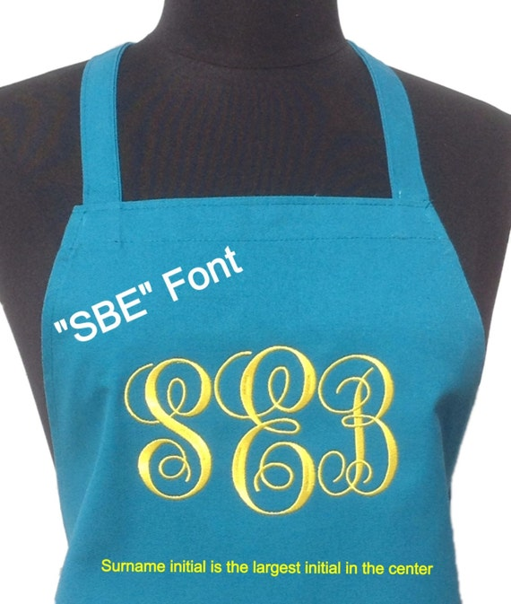 "Turquoise Taffy Blue & Daffodil NO pockets Apron ""SBE"" monogrammed apron (28""L x 24""W) Wedding, House Warming, Bridal Shower, Birthday,"