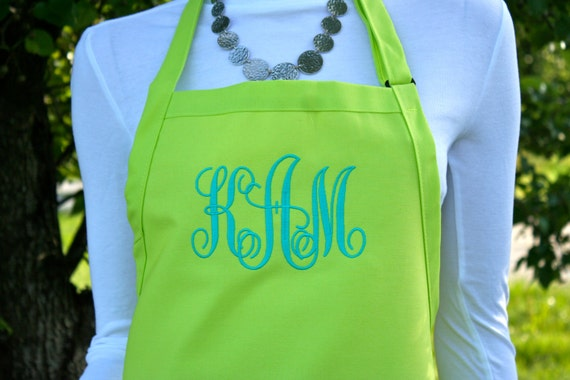 "3 pocket Limeade Bright Green/Yellow and Turquoise font monogrammed apron (24""L x 28""W) Teacher, graduation, Chef, Picnic, Kitchen remodel"