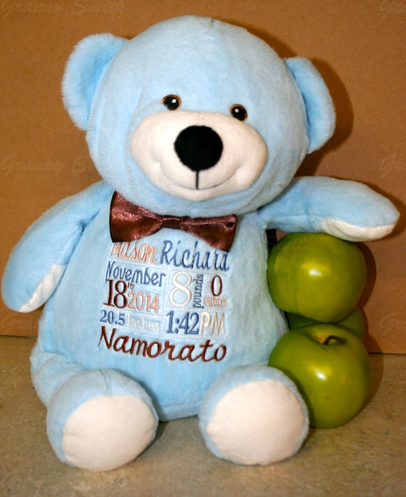 "BLUE 16"" birth announcement plush stuffed teddy bear. Any occasion, embroidered, monogrammed, personalized gift, customized animal"