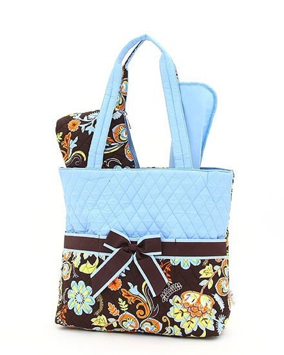 Large quilted floral brown and blue pattern 3pc diaper bag set. Changing pad, necessities pouch, & diaper bag. Personalize. Monogram.
