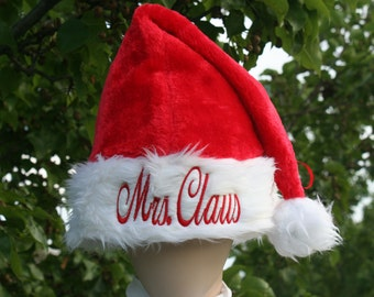 Christmas Santa Hat Adult red plush custom embroidered on white trim. You decide the saying / name / customization. Personalize your way!