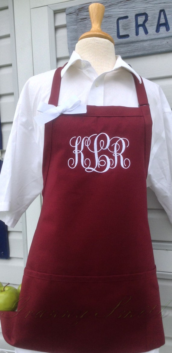 "3 pocket Burgundy Wine apron and White thread ""SBE"" font monogrammed apron (24""L x 28""W) Teacher, graduation, Chef, Picnic, Kitchen remodel"