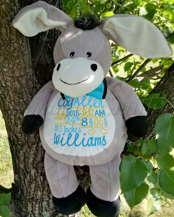 "Sweet Gray 16"" plush stuffed DONKEY with custom embroidery! Any occasion, embroidered, monogrammed, personalized gift, customized animal"
