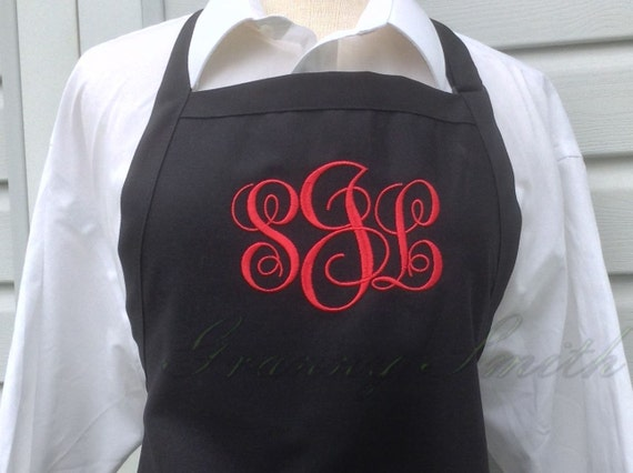 "NO pocket Black Caviar apron and Red ""SBE"" font monogrammed apron (28""L x 24""W) Engagement, House Warming, Bridal Shower Birthday, Etc"