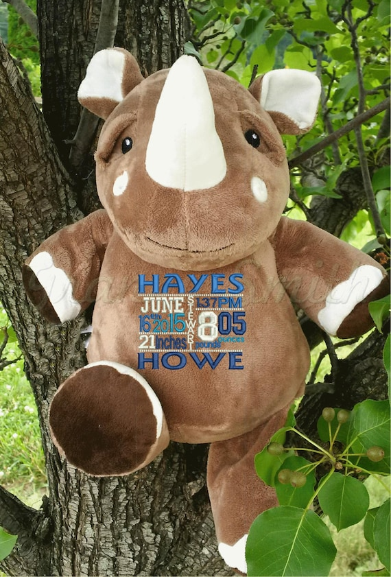 RHINO plush animal customized birth announcement. Personalized Rhinoceros for baby, graduation, military, retirement, or any age.