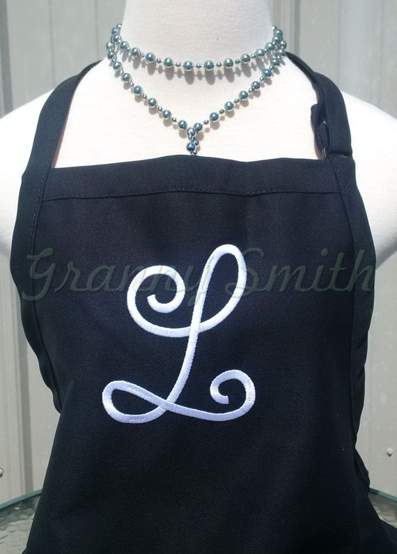 "3 pocket monogram apron w large SINGLE INITIAL (24""L x 28""W) Bow or not? Wedding, birthday, picinc gift, bridal party, aunt, teacher, sister"