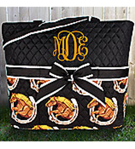 Large quilted black + white + brown horse pattern 3pc diaper bag set. Changing pad, necessities pouch, & diaper bag. Personalize. Monogram.