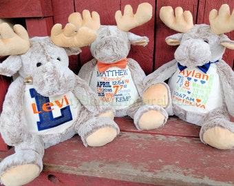 """MOOSE *EXTRA LARGE* and extra plush brown moose Customize & personalize a 16"""" custom embroidered Mason Buddy Moose with personalized tummy"""