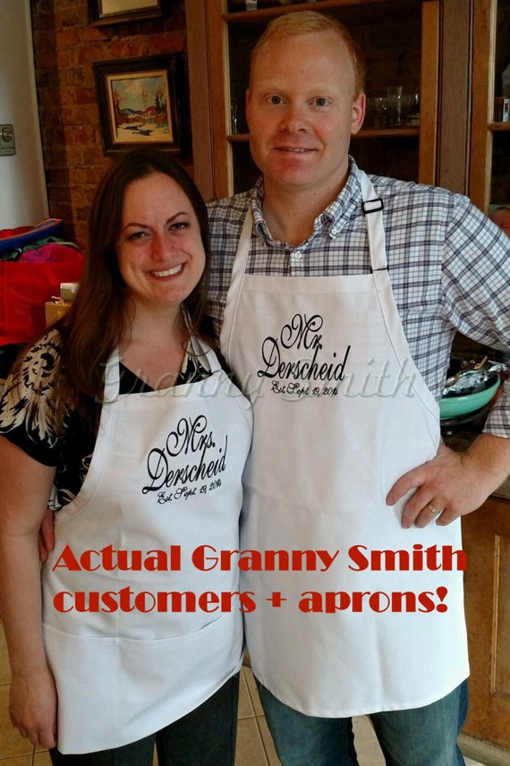 """Wedding """"Mr."""" & """"Mrs."""" Apron Set with Emerald Black thread,  Bridal Shower Gift, Cake Cutting Ceremony, Housewarming gifts, Gown saver!"""