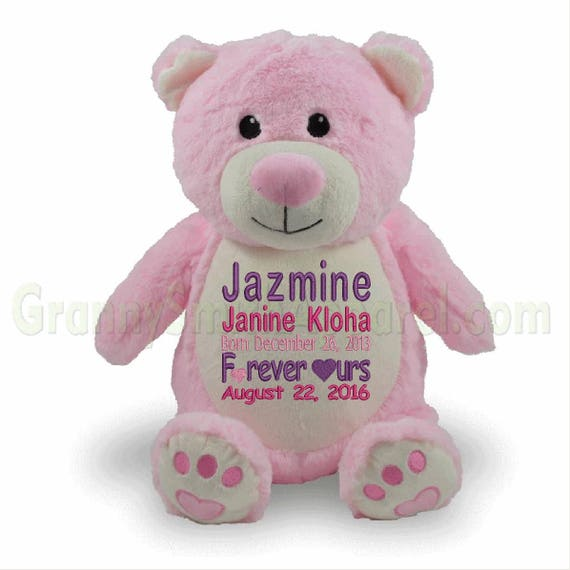 "Bear PINK 14"" plush stuffie.  Custom embroidered for your occasion with your saying. Adoption, superhero, promposal, and many more ideas!"
